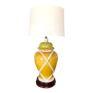 Vintage Chinoiserie Yellow Ginger Jar / Faux Bamboo Table Lamp For Sale
