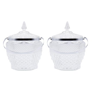 Wexford Crystal Ice Buckets by Anchor Hocking - a Pair For Sale