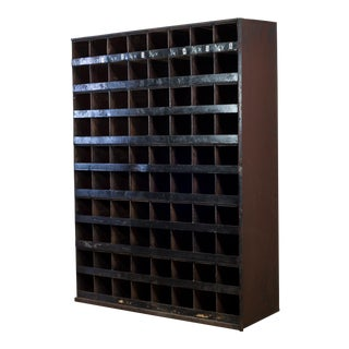 Early 20th C. Large Steel Industrial 80 Cubicle Cabinet C. 1930-1950s For Sale