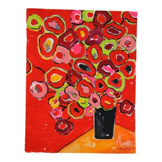 Red Floral Painting by Cleo Plowden For Sale