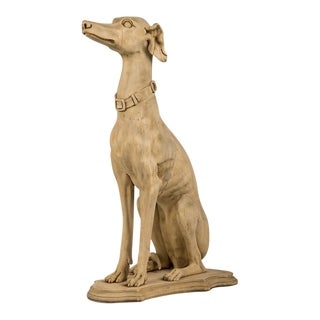 Antique English Life Size Carved Wood Greyhound circa 1890 For Sale