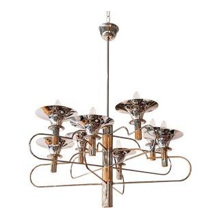 Sciolari Italian mid century modern brass & chrome chandelier