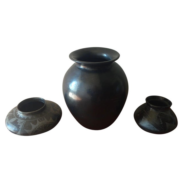 Black Indian Pottery - Set of 3 - Image 1 of 11