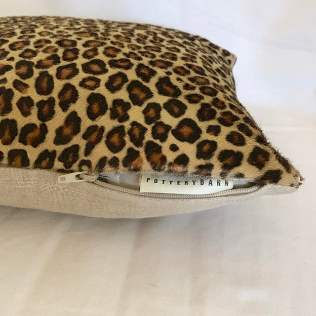 Pottery Barn Leopard Pillow Cowhide Leather Pottery Barn For Sale - Image 4 of 11