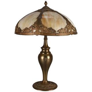 Antique Bradley & Hubbard School Arts & Crafts Filigree Slag Glass Lamp