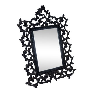 1950s Vintage Cast Iron Victorian Gothic Tabletop Mirror For Sale