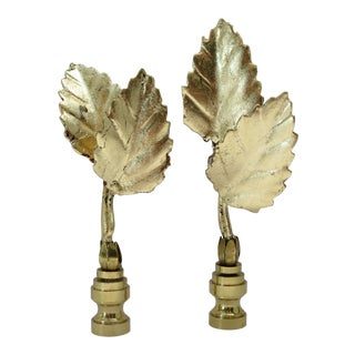 Italian Double Tole Leaf Finials by C. Damien Fox, a Pair. For Sale
