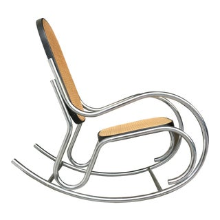 Vintage Mid-Century Thonet Style Cane and Chrome Rocking Chair For Sale