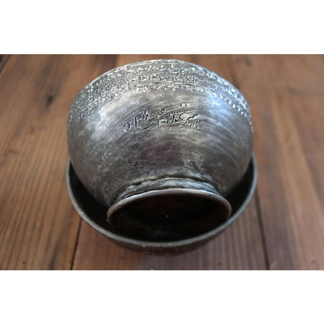 Antique Ottoman-Era Copper Bowls-a Pair For Sale In San Francisco - Image 6 of 8