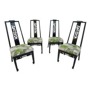 Mary McDonald for Schumacher Upholstered Chinoiserie Side Chairs - Set of 4 For Sale