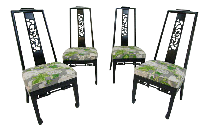 Mary McDonald For Schumacher Upholstered Chinoiserie Side Chairs   Set Of 4  | Chairish