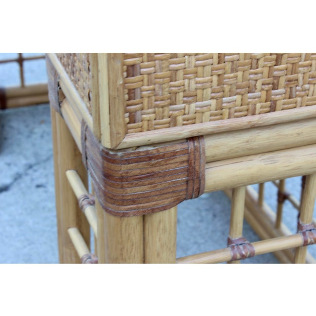 Vintage Italian Dal Vera Bamboo Woven Rattan MCM Desk/Console For Sale In Columbus - Image 6 of 9