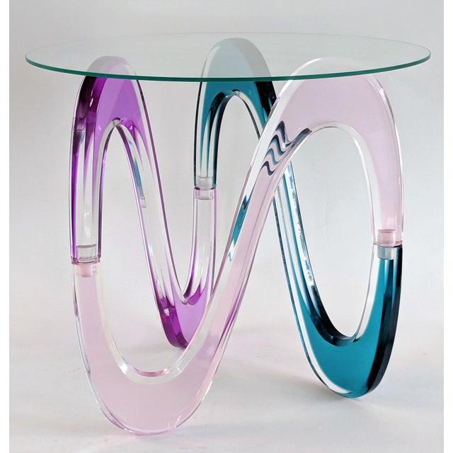 Shlomi Haziza Contemporary Shlomi Haziza Colored Molded Lucite Infinity Side Table Base For Sale - Image 4 of 13