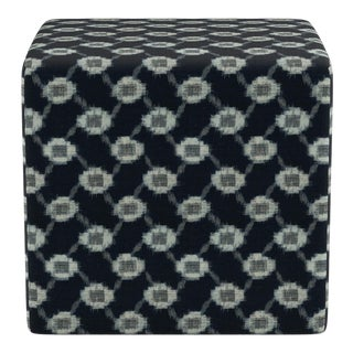 Cube Ottoman in Lattice Shibori For Sale