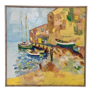 """""""Painting of a Coastal Town"""" Painting on Canvas. Vintage For Sale"""