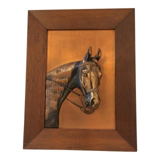 Vintage Framed Copper Equestrian Horse Head in Relief