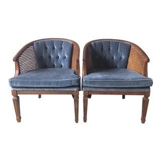 1970s Vintage Blue Velvet Chairs - a Pair For Sale