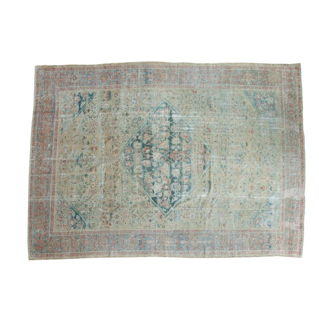"""Distressed Antique Sultanabad Carpet - 9' X 12'5"""" For Sale"""