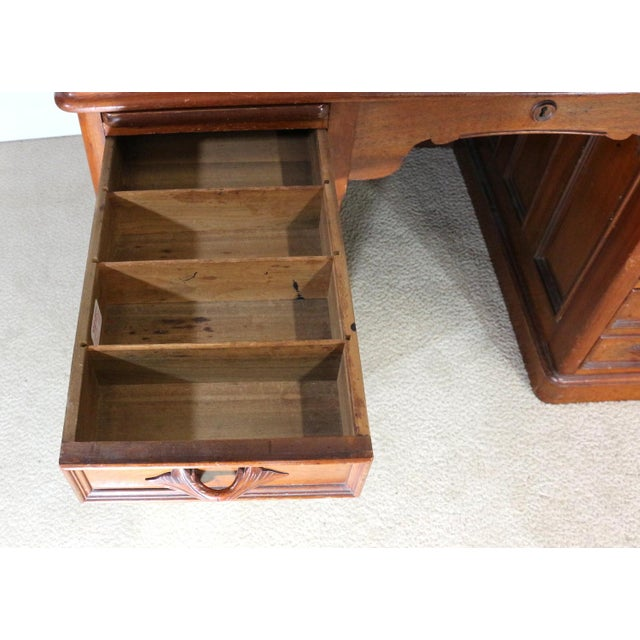1850s Antique Walnut Bankers Desk - Image 10 of 11