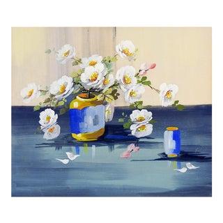 White Primrose Still Life Painting For Sale