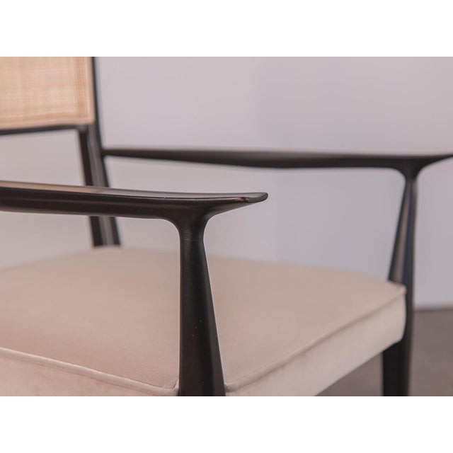 Caning Paul McCobb Ebonized Occasional Chairs - a pair For Sale - Image 7 of 10