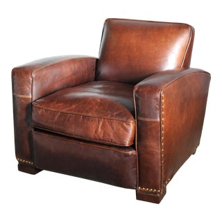 Restoration Hardware Leather Library Chair For Sale