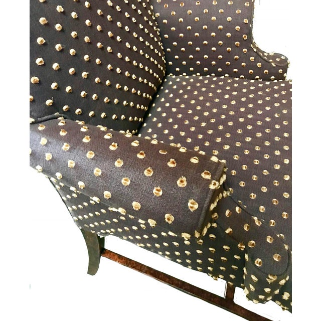 Brown With Cream Mohair Polka Dots Upholstered Arm Chair For Sale - Image 4 of 7