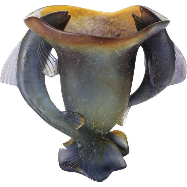 Daum France Art Glass Pate De Verre Vase, Twin Fishes, Signed - Image 2 of 5