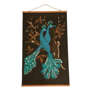 1960s Vintage Swedish Ulla Margareta Littorin/Uml Peacock Tapestry For Sale