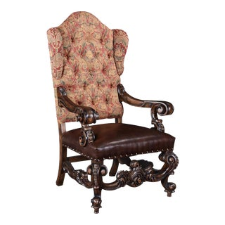 Baroque Rococo Wood Red Chenille Throne Chair For Sale