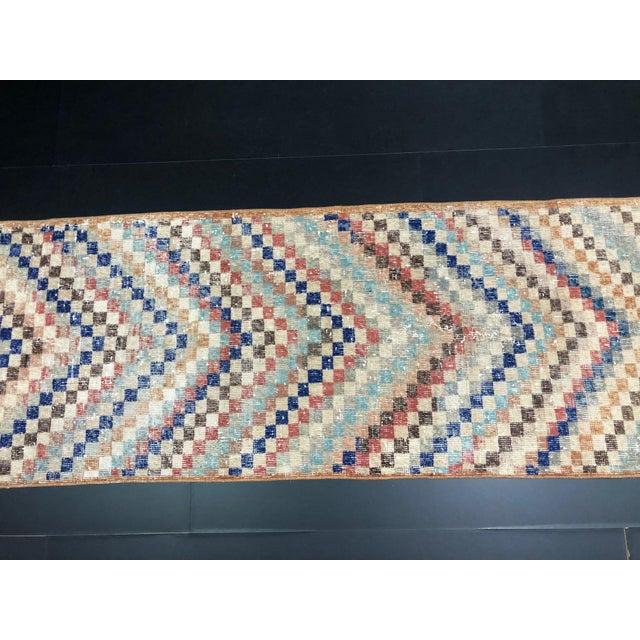 Beige Vintage Geometric Design Turkish Anatolian Wool Runner For Sale - Image 8 of 11