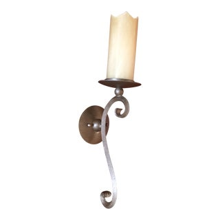 Rustic Deyanira Metal and Glass Sconces - a Pair For Sale