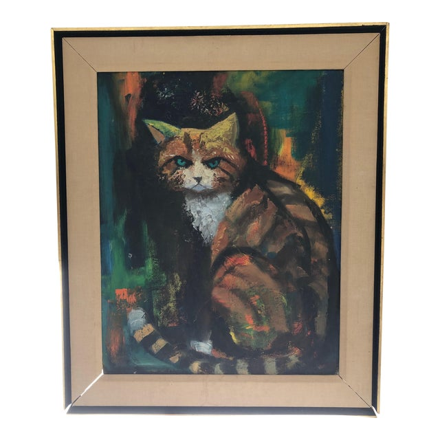 The Angry Cat Original Oil on Board C.1940s For Sale