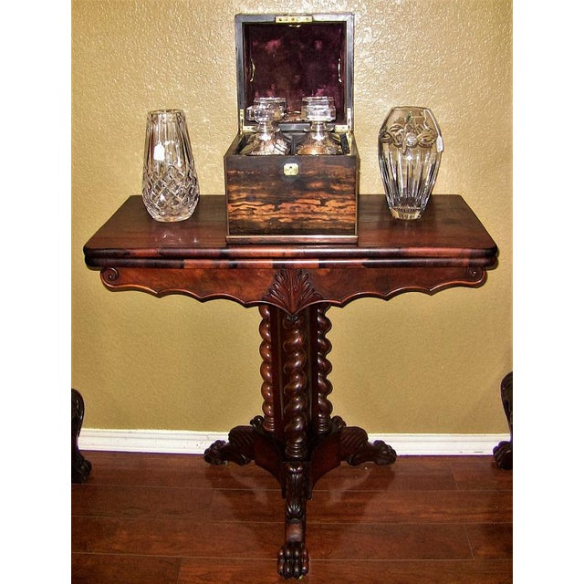 Mahogany 19c British Fold Over Card Table With Tripod Barley Twist Columns For Sale - Image 7 of 12