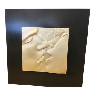 Original Signed Sculpture Relief of the Kiss For Sale