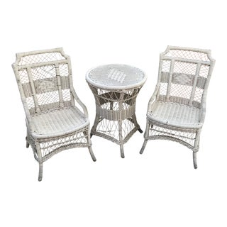 1970s Vintage Wicker Chairs & Pedestal Table - 3 Pieces For Sale