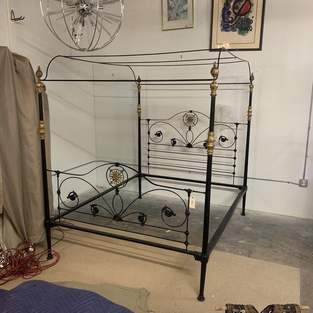 19th Century Victorian Brass and Iron King Bedframe For Sale - Image 4 of 13