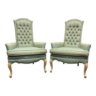 Vintage Mid-20th Century French Provincial Louis XV Style Chairs - Pair For Sale