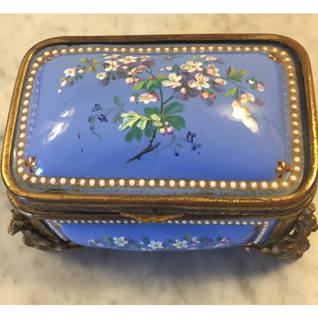 Metal 1885 Bronze Gilt and Hand Painted Enameled Cofferette For Sale - Image 7 of 12