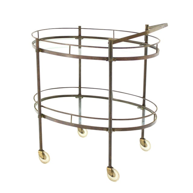 Oval Two-Tier Brass Tea Cart or Serving Table For Sale