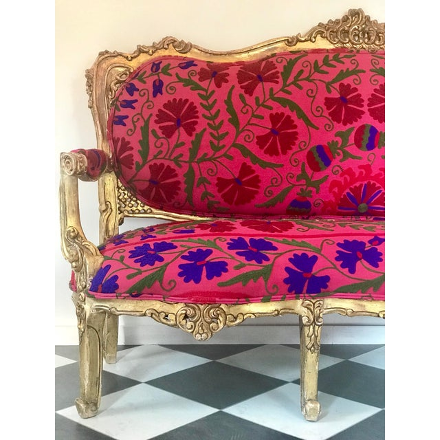 20th Century Boho Chic Red and Hot Pink Velvet French Settee - Image 2 of 11