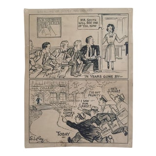 Rare Original Vintage Signed 1930's One of a Kind Comic Art Illustration Drawing by s.j. Ray For Sale