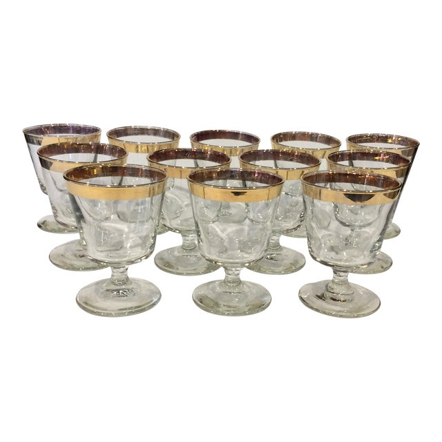 Mid-Century Gold Rim Rocks Cocktail Glasses - Set of 12 - Image 1 of 11
