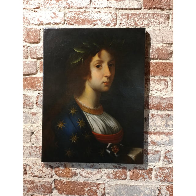 """After Carlo Dolci -La Poesia- Beautiful 18th century Oil Painting Oil Painting on canvas - circa 1760s size 16 x 23"""""""