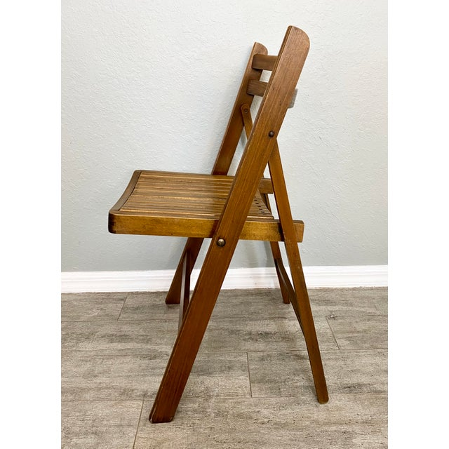 Mid Century Modern Slat Back Folding Chairs - a Pair For Sale In Naples, FL - Image 6 of 9