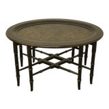 Image of 20th Century Boho Chic Ethan Allen Asian Inspired Faux Bamboo Black and Gold Tray/End Table For Sale