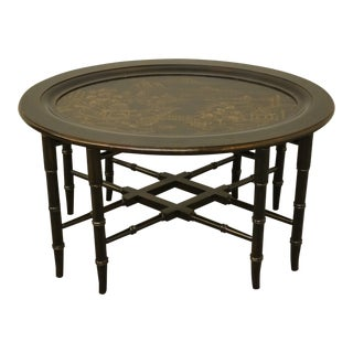 20th Century Boho Chic Ethan Allen Asian Inspired Faux Bamboo Black and Gold Tray/End Table For Sale