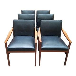 C.1960's Rosewood & Black Vinyl Dining Chairs - Set of 6