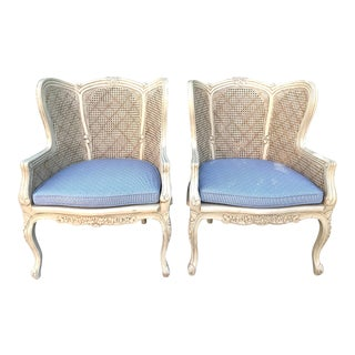 Vintage 20th Century French Cane Chairs with Blue Cushions - a Pair For Sale