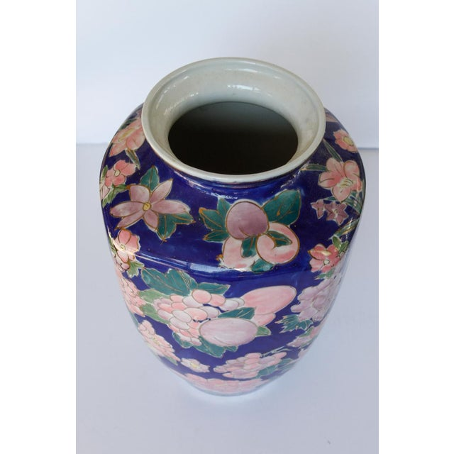 Mid Century Blue Ceramic Vase With Bouquets of Pink Flowers Outlined in Gold For Sale - Image 4 of 8